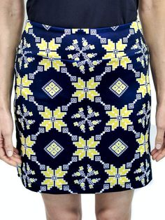 "Check out what Loris Golf Shoppe has for your days on and off the golf course! Golftini Ladies & Plus Size 18"" The Traveler Medallion Pull On Stretch Golf Skorts - Navy & Yellow"