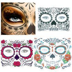 Halloween Day Of The Dead Face Sugar Skull Temporary Tattoo Costume Fancy Decor Day Of The Dead Party, Day Of The Dead Skull, Temporary Face Tattoos, Full Arm Tattoos, Sugar Skull Makeup, Face Stickers, Flower Skull, Skull Face, Tattoo Stencils