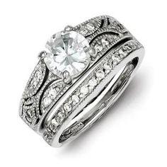 Sterling Silver 2-Piece CZ Wedding Ring Set. Metal Wt- 7.8g
