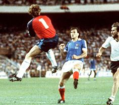 Harald Schumacher taking Patrice Battison down cynically to deny France winning World Cup Semi-Final 1982 World Cup Semi Final, Kids Soccer, Schumacher, Goalkeeper, Soccer Players, Football Shirts, Fifa, Champion, Baseball Cards