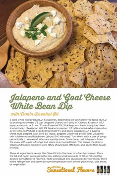 doTERRA delicious: Jalapeno and Goat Cheese White Bean Dip with Cumin essential oil