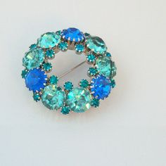 SALE 50% Off Weiss Designer Signed Turquoise & Blue Austrian Crystal Vintage Circle Brooch SKU 106089