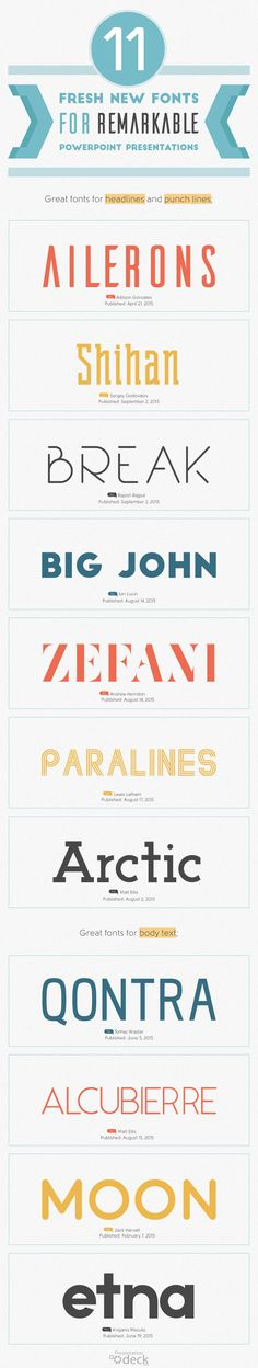 11 Fresh Free Fonts for Awesome Headlines, Quotes, and Punch Lines. #design #fonts #powerpoint