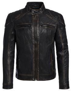 OAKWOOD Lederjacke im leichten Vintage-Look - braun  #kleidoo #fashion #trend #mode #leather #leder #lederjacke #oakwood #man