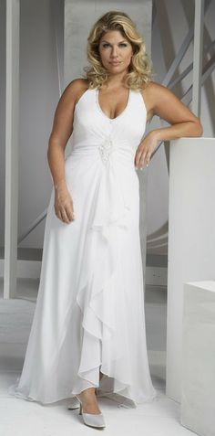 Great Chiffon High low Length Plus Size Wedding Dresses ZW on Sale ToBeBridal