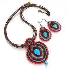 Red brown Folk Turquoise necklace  earrings soutache by sutaszula