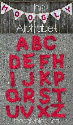 Free Crochet Alphabet by Moogly! #crochet (Swipe your finger up the page to scroll down and access the patterns if you are on a mobile device!)