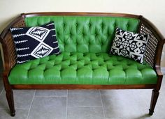 Yes, you can update an upholstered chair or couch using PAINT. This little loveseat was painted green. Can you tell?