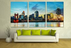 Panoramic 3 Panel Split (Triptych) canvas print of Cincinnati skyline. Hand stretched on 1.5 deep wooden stretcher bars. This giclee print is great