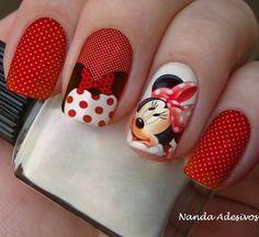 Fall Nail Art Designs, Cool Nail Designs, Chic Nails, Trendy Nails, Minnie Mouse Nails, Nail Art Videos, Disney Nails, Fabulous Nails, Beautiful Nail Art