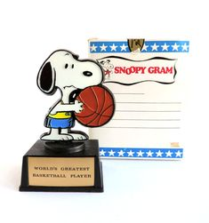 Snoopy Gram Sports Trophy, World's Greatest Basketball Player, 1971 Aviva Gift-O-Grams Original Box, Retro Charles Schulz Peanuts Character by TheLogChateau on Etsy