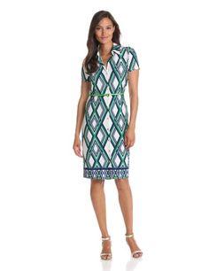 Anne Klein Women's Petite Lattice Print Belted Dress, Lawn Multi, Small