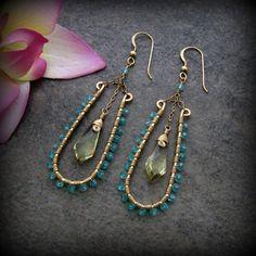Lemon Quartz, Apatite Gemstone Gold Wire Wrap Chandelier Earrings