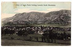 View of Santa Paula Towards South Mountains Birds Eye California CA Postcard