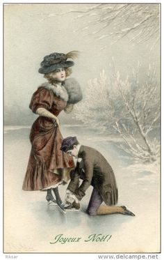 Find images and videos on We Heart It - the app to get lost in what you love. Victorian Christmas, Vintage Christmas Cards, Christmas Images, Christmas Art, Winter Christmas, Love Vintage, Vintage Couples, Vintage Flowers, Vintage Images