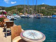 Sivota - natural bay and marina, yachts and boats to rent; village in Lefkada, Ionian Islands Outdoor Furniture Sets, Outdoor Decor, Yachts, Boats, Greece, Channel, Villa, Island, Natural