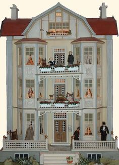 maisondepoupees poupendol= poupees puppen dolls (This wonderful 1910 Moritz Gottschalk Dollhouse belongs to Lynda and John Christian who took the photos (click to blog to see more) - note the little mailbox by the door - close up pinned alongside)