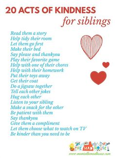 20 acts of kindness for siblings - A fab free printable to encourage siblings to live in harmony and reduce sibling rivalry.