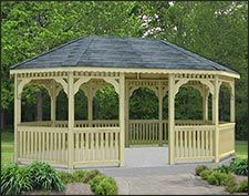 A lovely single-roof pine rectangular gazebo sitting on a concrete pad. This is a classic gazebo style that is large enough to accommodate two separate entertaining areas. Gazebo On Deck, Screened Gazebo, Gazebo Plans, Backyard Gazebo, Garden Gazebo, Backyard Ideas, Diy Gazebo, Gazebo Ideas, Outdoor Rooms