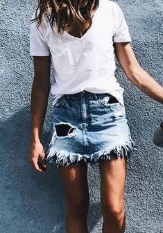 Frayed denim mini + white tee.