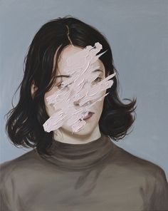 Henrietta Harris Portraits. I like the use of painting out the face giving it a sense of isolation and mystery.