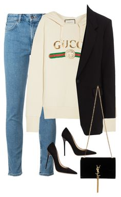 """""""Sem título #1536"""" by oh-its-anna ❤ liked on Polyvore featuring Levi's, Gucci, rag & bone, Jimmy Choo and Yves Saint Laurent"""