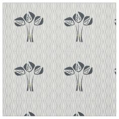 Art Deco Style Bouquet Geometric Pattern Fabric