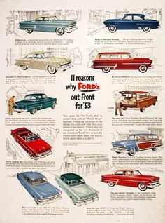 1953 Ford Model Line vintage ad. 11 reasons why Ford's out front for '53. Featuring 11 models: V8 Crestline Victoria, Mainline Tudor Sedan, Customline Club Coupe, Crestline Sunliner, Mainline Business Coupe, Mainline Fordor Sedan, Customline Country Wagon, Mainline Ranch Wagon, Crestline Country Squire, Customline Fordor Sedan and Customline Tudor Sedan.