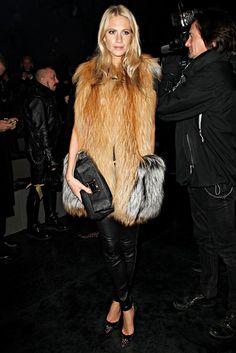 poppy delevingne  fur vest