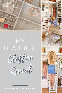 What is a cloffice you ask? It's a closet and office space combined and this is my dream space! It is so functional, and yet so beautiful! It makes me feel like a princess! And there's plenty of room for my shoes! #cloffice #officeideas #homereno