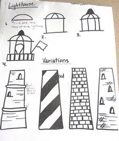 lighthouse drawing sheet - Many lighthouse pics Lighthouse Drawing, Lighthouse Art, Laurel Burch, Art Handouts, 2nd Grade Art, Drawing Sheet, Art Worksheets, Art Lessons Elementary, The Draw