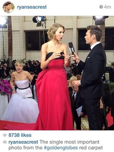 """I was gonna' come in and push you down the stairs..."" - jennifer lawrence to taylor swift on the golden globes red carpet."