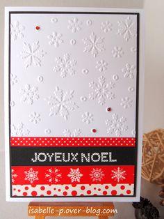 Carte Noël - Embossage flocons et masking tape