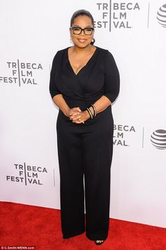 Looking good! Oprah Winfrey showed off her shrinking 5ft7in figure in slimming black at the Tribeca Tune In: Greenleaf Q&A in Manhattan on Wednesday