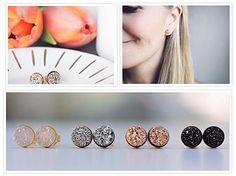 Druzy Stud Earrings Handmade Druzy Stone Earrings
