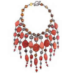 Stephen Dweck Sterling Silver and Coral Collar    From a unique collection of…