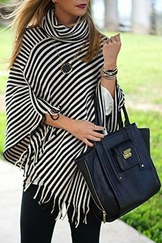 Lavish Boutique  - Call It A Day Poncho: Black/White , $42.00 (http://lavishboutique.com/call-it-a-day-poncho-black-white/)