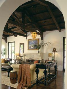 Stunning ceiling, Mediterranean classic, Los Angeles. Tommy Chambers Interiors.