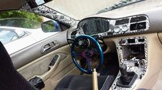 Hydrodipped Honda Accord interior pieces installed done in Drift Sticker bomb with white base! JDM style looks so dope!
