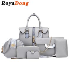 RoyaDong Designer Women Composite Bags Pu Leather With Serpentine Women's Handbags Shoulder Bag Set For 6 Pieces 2017 Winter New #CLICK! #clothing, #shoes, #jewelry, #women, #men, #hats