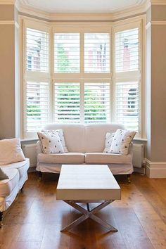 Cuddle Up In a Cozy #Alcove- There's nothing like enjoying a good book or even the joy of #nature from the comfort of your own home while nestled in the sanctuary of a gorgeous alcove. Bay windows with beautiful wooden horizontal blinds to control the light make anything possible.