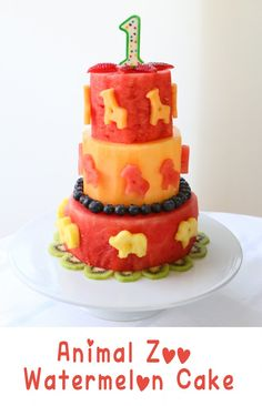 Fresh and naturally sweet watermelon cake using sweet and seasonal fruit. Easy technique, no bake required, incredibly beautiful. It's perfect for first birthday parties, summer parties, 4th July parties, kids with allergies (to dairy/eggs/gluten..).