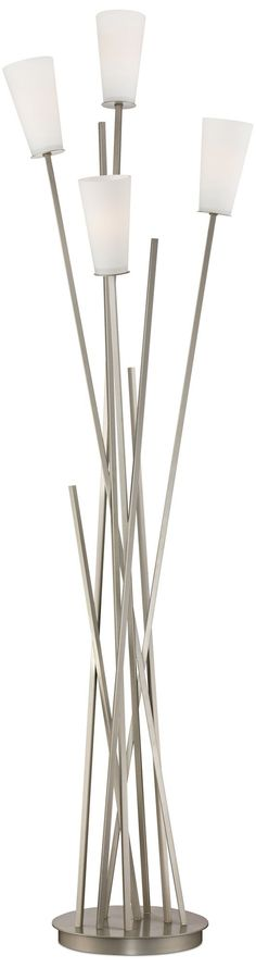 Brushed Steel and Frosted Glass Light Tree Floor Lamp - Style ...