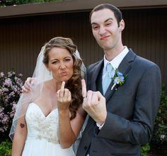 Funny, ridiculous wedding photo. It will make others looks twice!