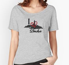 'Haven I Love Duke Logo' Women's Relaxed Fit T-Shirt by HavenDesign Duke Logo, Celebrate Good Times, Dance Like No One Is Watching, Graphic Shirts, Needle And Thread, Shirt Outfit, Chiffon Tops, V Neck T Shirt, Classic T Shirts