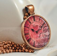 Vintage Pink Clock Face Resin Pendant Picture by artyscapes,on Etsy