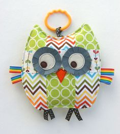 Rupert the Patchwork Owl Crinkle Toy. How cute are the prints and colors? I love the retro feel of the chevron and dot patterns. So cute. Great as a toy or nursery decor. Source: http://www.etsy.com/listing/84588239/rupert-the-patchwork-owl-crinkle-toy?ref=sr_gallery_19_search_query=owl+baby_view_type=gallery_ship_to=US_page=63_search_type=all