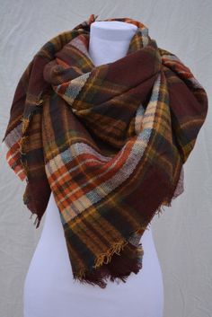 PRE ORDERBeautiful Brown Plaid Tartan Scarf by OliveandSnow