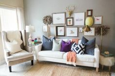 The key to comfort is what makes you happy. Display photos and artwork that remind you of good times. The gallery wall is a popular choice for this kind of decor, but you can also slap your favorite Instagrams on a desk, collage your friends on wall art, or simply string them up. (Photo: Clair Brody Designs)