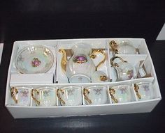 Yusui Coffee Tea Set 17 Pcs. 24KT G.P. Opalescent Luster in Box Victorian Ppl.